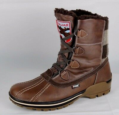 Pajar Canada men's snow boots brown leather winter warm size US 10 10.5