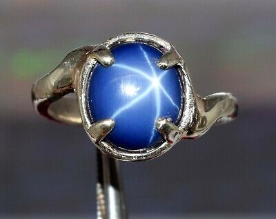 Star Blue Sapphire 925 Sterling Silver Unisex Gemstone 3-5 Ct Natural Ring