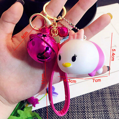 Cartoon Pink Duck Keychain Car Key Ring Bell Rope Strap Keyfob Toy Gift Dasiy