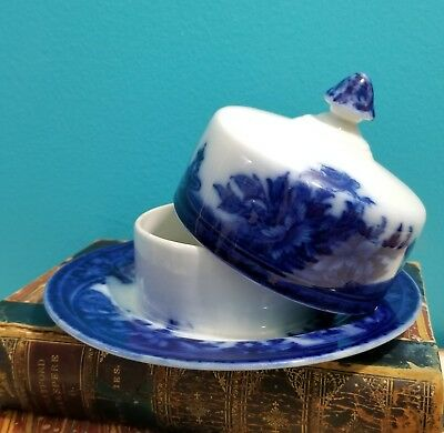 SCARCE Antique WEDGWOOD FLOW BLUE Floral ROMA 2 Piece COVERED BUTTER CHEESE DISH
