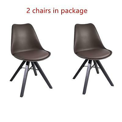 Set of 2 Natural Wood Legs Modern Dining Chair Padded Seat Office Canteen Chair
