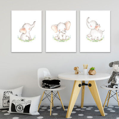 Woodland Animal Wall Art Canvas Poster Nursery Print Picture Baby Room Decor
