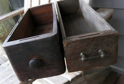 TWO Antique Farmhouse Sewing Machine Wood Drawer Box Vintage Primitive Shelves