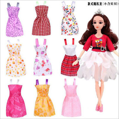 "Random Lot10pcs Short Dress Clothes Fit For 11""Barbie Doll Party Gown Outfits"