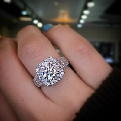 Certified 3.00 Ct Round Diamond Double Halo Engagement Ring in 14k White Gold