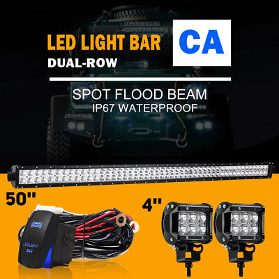 "50 inch 288W LED Light Bar + 2x 4"" Led Pods Truck ATV SUV Off Road"