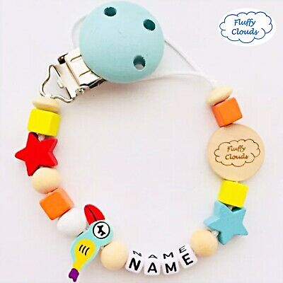 Cute Baby Personalized Wooden Bead Pacifier Soother Dummy Clip Holder~ Girl, Boy