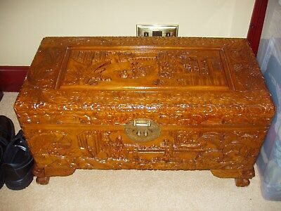 Camphor Wood Chest Ottoman storage- with foam topper and Laura Ashley cover
