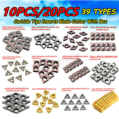 39 Types 10/20Pcs CNC Carbide Tips Inserts Blade Cutter Lathe Turning Tool + Box