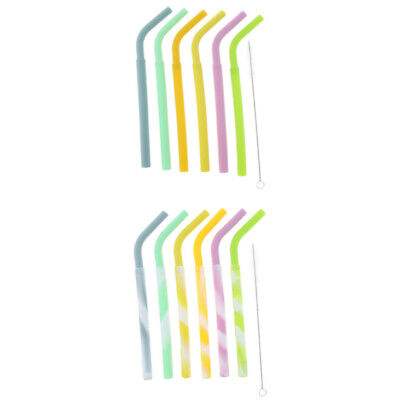 6x Eco Friendly Silicone Flexible Reusable Drinking Straws w/ Cleaning Brush