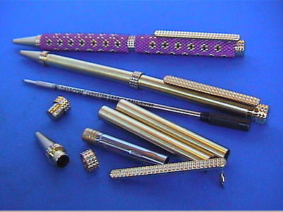 Woodturning/Beading Pen Kits x 5/10 NEW Ball Pen 7mm Twist 24k Gold/Chrome/Rose