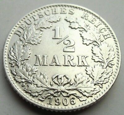 (15)Rare Germany Empire 1/2 Mark Silver Coin 1906 D -  0.900 Silver