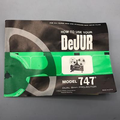 Vintage DeJur 747 8mm Movie Projector Instructions Manual