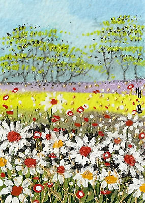 "YEARLY SALE - ACEO Original ""Sunny Daisies"" Painting - By Hélène Howse"