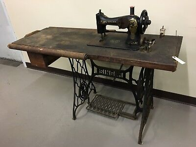 Singer 32-56 Commercial treadle sewing machine,presser foot,industrial bench