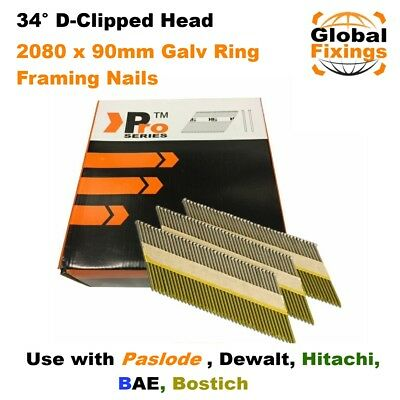 2080 x 90mm  Galv Ring Framing Nails for DEWALT DCN692N, Paslode IM350/350+