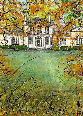 "YEARLY SALE - ACEO Original ""Plantation Autumn Time"" Painting - By Hélène Howse"