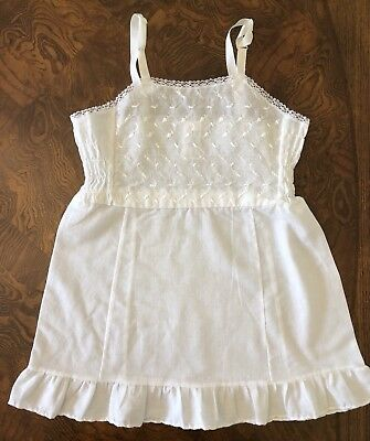 Vintage Girls Off White Cotton Blend Full Slip, Size 7 USA Embroidered Ruffle