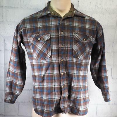 Vintage Pendleton Plaid Virgin Wool Mens Size S Button Down Shirt made in USA