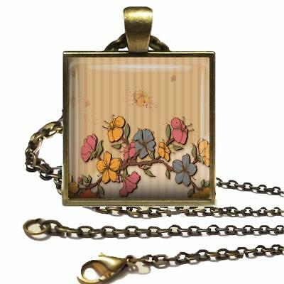 Floral Pattern Glass Top Bronze Pendant Necklace & Chain Handcrafted Jewelry 01