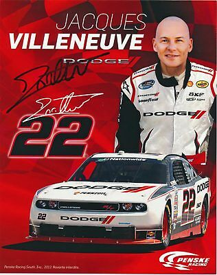 Jacques Villeneuve Signed 8X10 Inches Nascar Canadian Tire 2012 Photo Card