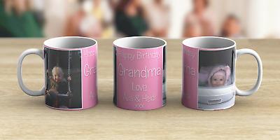 Personalised 2 Photo Mug Text Birthday Mum Dad Coffee Tea Cup Any Name Message
