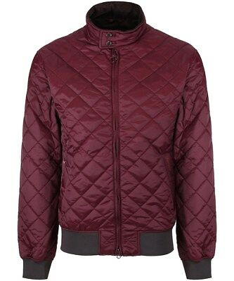 BARBOUR Classic Lightweight Diamond Quilted 'Romer' Bomber Jacket Bordeaux sz S