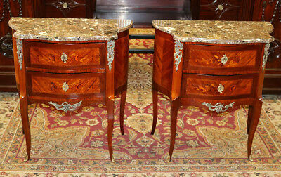 Best Pair French King Wood Bronze Mounted Marble Top Nightstands Nightstands