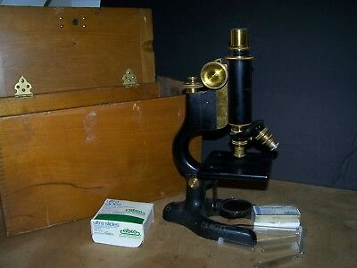 Antique Brass Bausch & Lomb Microscope in Wood Case old vintage 1800's cast iron