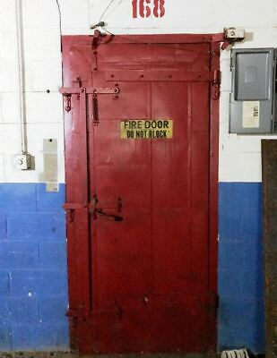 Antique Industrial Steel Fire Boiler Room Door Hinged