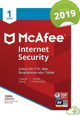 McAfee Internet Security 2019 | 1PC 1Jahr | VOLLVERSION / Upgrade | 2018