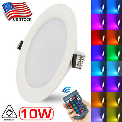 10W LED Panel Light RGB Color Changing Downlight Recessed Ceiling Remote Control