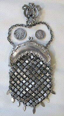 Antique Victorian Art Nouveau Fancy Chain Mail Chatelaine Clip Coin Purse 1800s