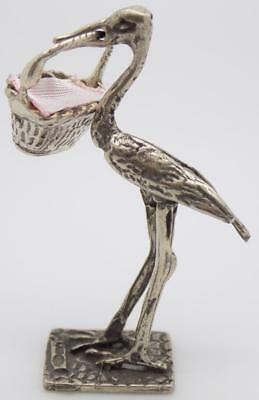 Vintage Solid Silver Italian Made Stork w/t Baby Figurine, Miniature, Stamped
