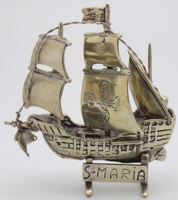 41g/1.45oz Vintage Solid Silver Italian Made St. Mary Ship Miniature, Stamped