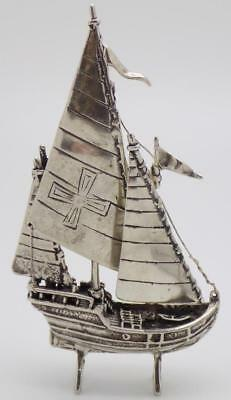 33g/1.18oz Vintage Solid Silver Italian Made Crusade Ship Miniature, Stamped