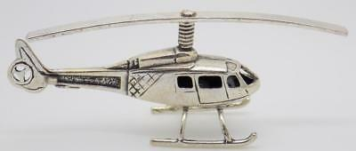 Vintage Solid Silver Italian Made Large Helicopter Miniature, Figurine, Stamped