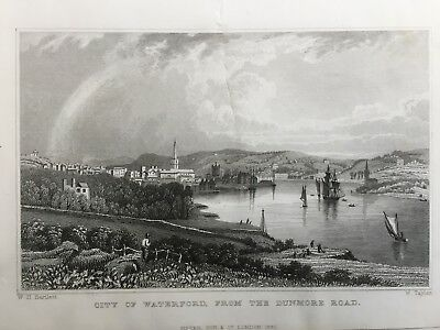 1830 Antique Print; Waterford from Dunmore Rd, Ireland after William Bartlett