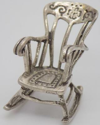 Vintage Solid Silver Italian Made Large Rocking Chair Miniature, Figurine, Stamp