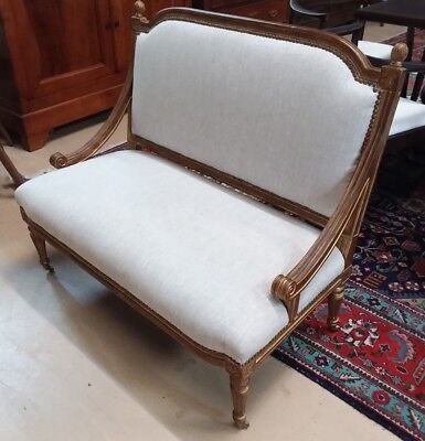 French Louis XVI gold leaf settee with linen two seater bench sofa couch