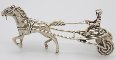 Vintage Solid Silver Italian Made Racing Horse Figurine, Miniature, Stamped