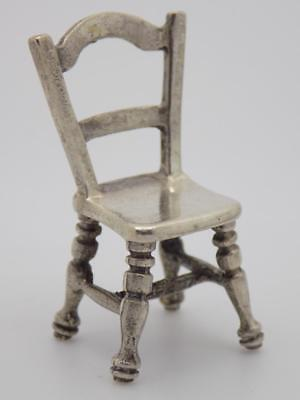 Vintage Sterling Silver 925 Italian Made Chair Miniature, Figurine, Stamped