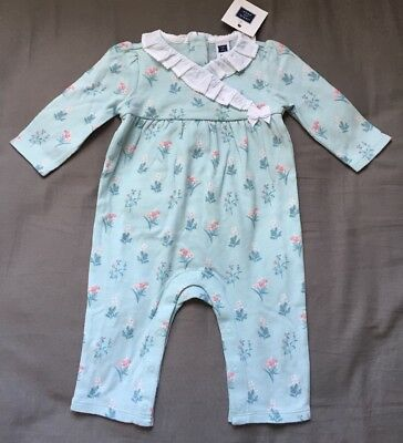 Baby Girl 3-6 Month Janie and Jack Floral Print Long Sleeve One Piece Romper
