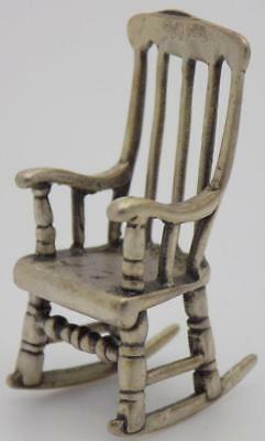Vintage Solid Silver Italian Made Rocking Chair Miniature, Figurine, Stamped