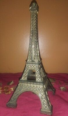 "Rare Metal Eiffel Tower Paris France Statue Figure Figurine Monument 8"" + tall !"