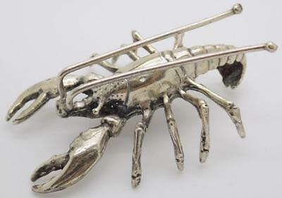 Vintage Solid Silver Italian Made Large Lobster Figurine, Stamped, Miniature