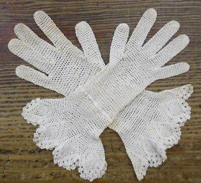 VTG 1930's Hand Crochet Lace Womens Fancy Dress Gloves
