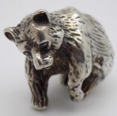 Vintage Solid Silver Italian Made Bear Figurine, Miniature, Stamped