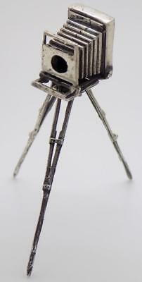 Vintage Solid Silver Italian Made Tripod Camera Large Miniature, Stamped