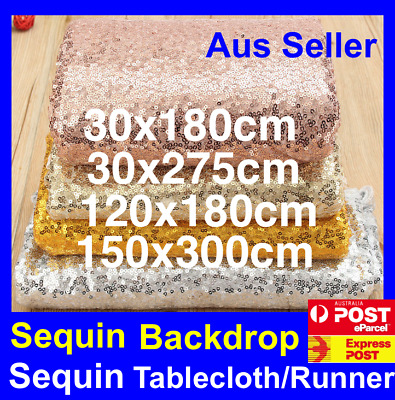 Sequin Table Cloth Runner Backdrop Wedding Party Decoration Gold Silver Black